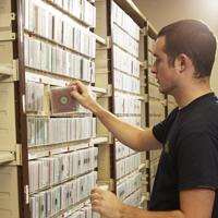 A man storing media in vault storage