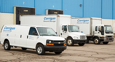 Parked Corrigan Records Trucks