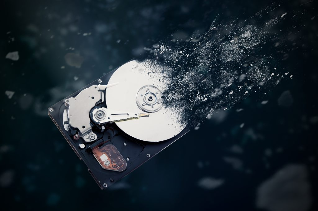 A hard drive being destroyed